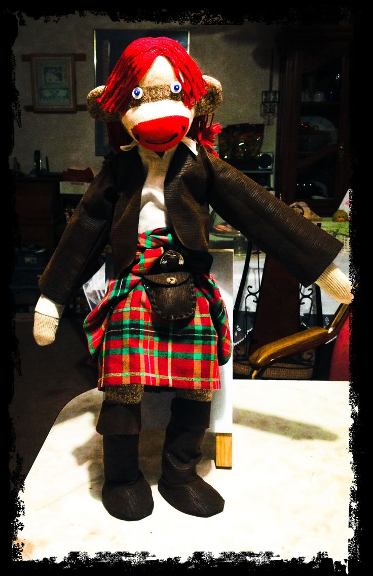 Jamie Alexander Malcolm MacKenzie Fraser as a sock monkey.