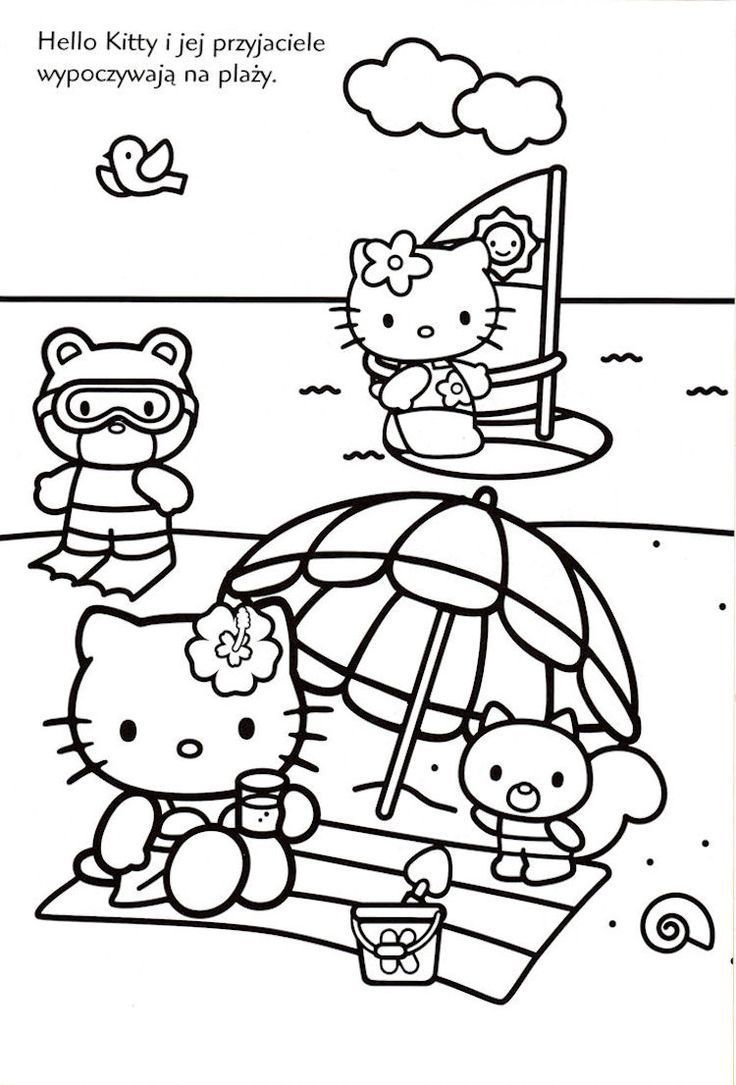 Hello Kitty at the beach in black and white.
