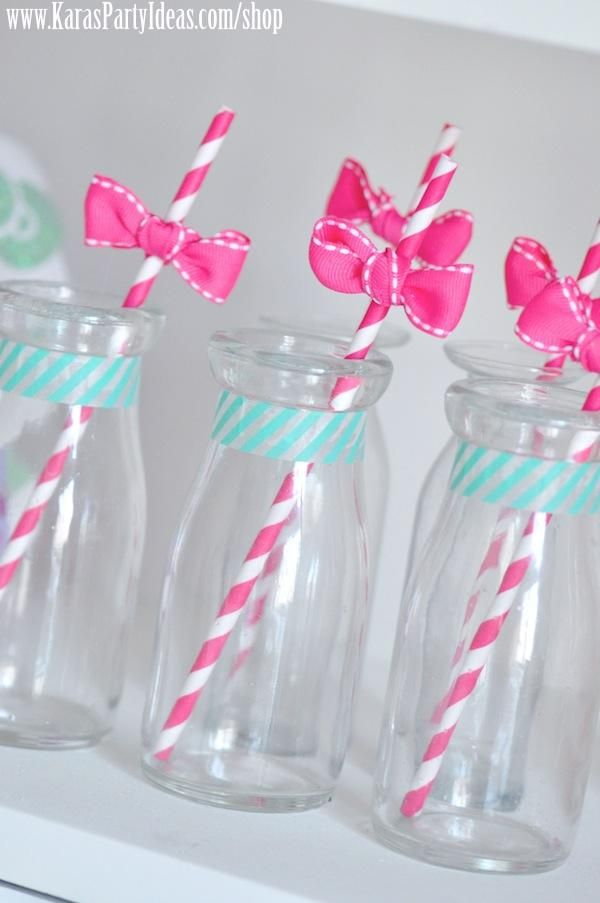 Hello Kitty Birthday Party-The Bottles with ribbons and washi tapes