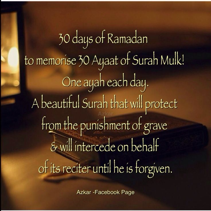 Let's Memorize Surah Mulk this Ramadan. 30 days of Ramadan to memorise 30 Ayaat of Surah Mulk!  One ayah each day. A beautiful Surah that will protect from the punishment of grave  will intercede on behalf of its reciter until he is forgiven.  Surah Mulk Recite:  http://quran.com/67  Listen: http://youtu.be/hPm-CJJqDFc  #Ramadan #SurahMulk #Ramadan2014