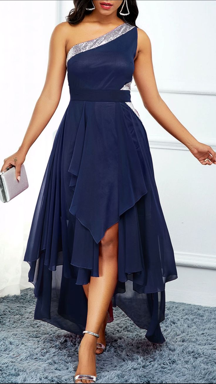 Navy Blue One Shoulder Asymmetric Hem Dress
