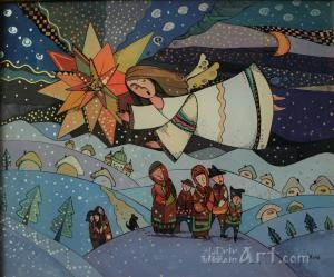 """Christmas Tale"" by Natalia Kuriy-Maxymiv. Love naїve art, and painting on the glass."