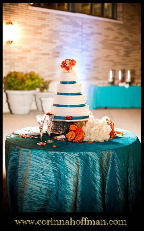Turquoise and orange wedding cake - The Main Downtown Library, Jacksonville, Florida www.corinnahoffman.com