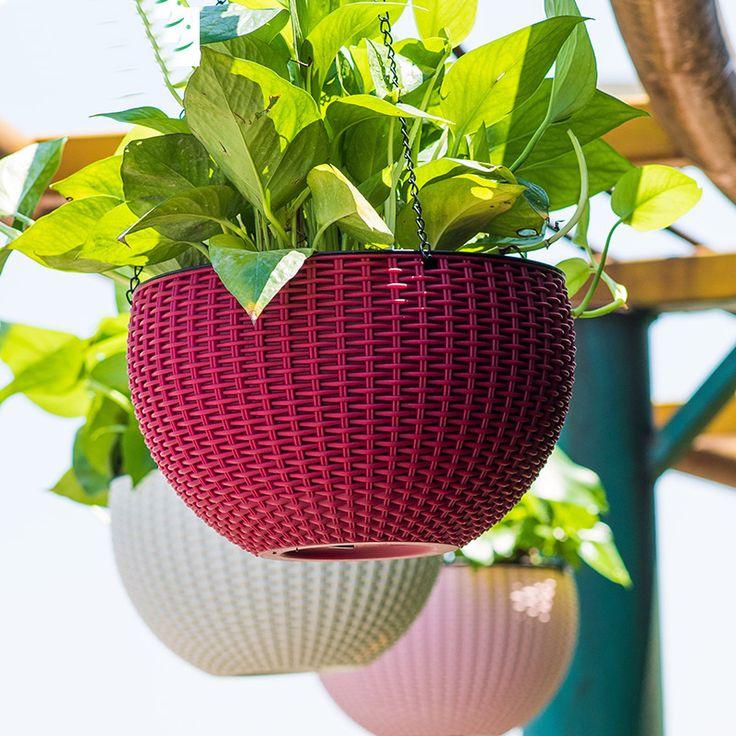 Краткое Подвесные корзины цветочный горшок Изысканный имитация ротанга цветочные горшки висячие украшения для хранения Воды Автоматический полив
