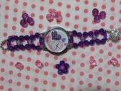 DIY: pulseira como fazer em  cristal para relógio .