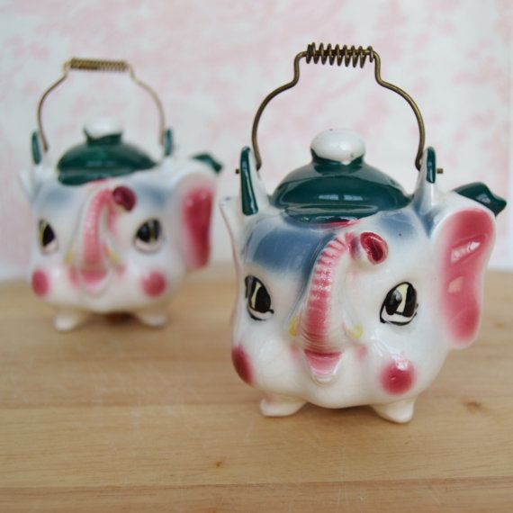 Vintage Elephant Kettle Salt And Pepper Shakers By Sonsco