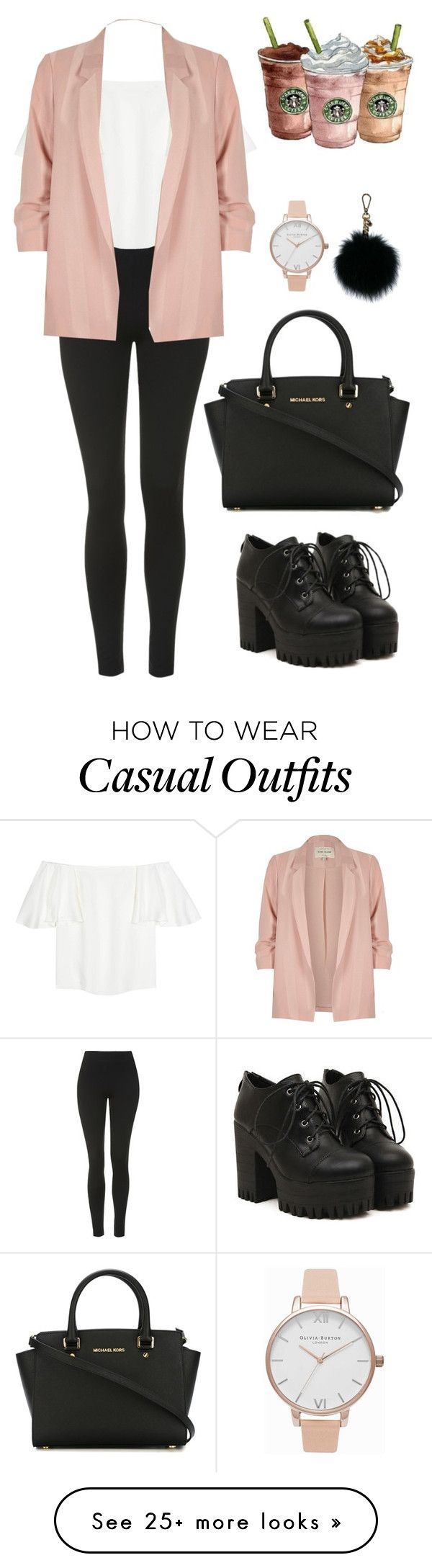"""Work (chic + casual)"" by alessialex2000 on Polyvore featuring Topshop, Valentino, River Island, MICHAEL Michael Kors and Olivia Burton"