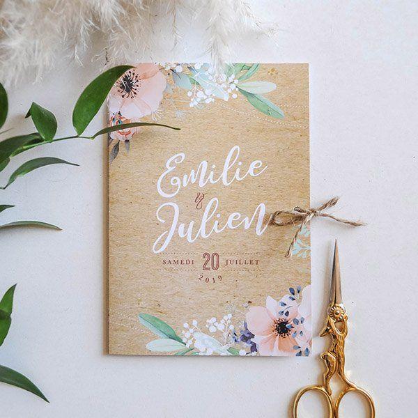Faire part de mariage thème fleuri champêtre kraft Ce qui est inclus dans le p…