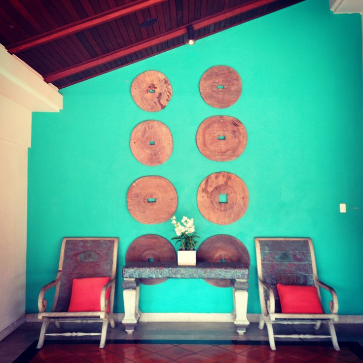 Vibrant yet peaceful colour choice against the timber!