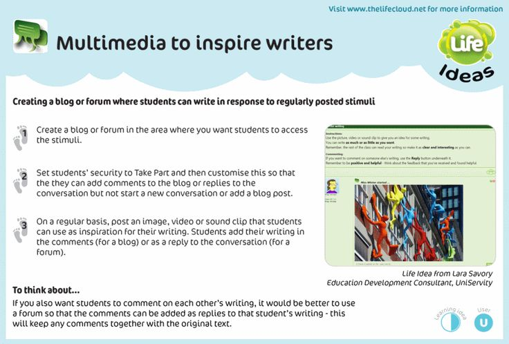Inspire writers of all abilities and levels of enthusiasm by embedding multimedia stimuli into a blog or forum. Another uniservity.com Life Idea