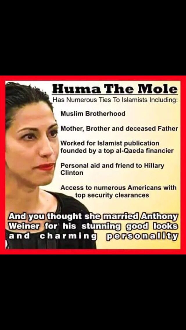 Hillary Clinton's top aide (and former congressman Weiner's wife) Huma