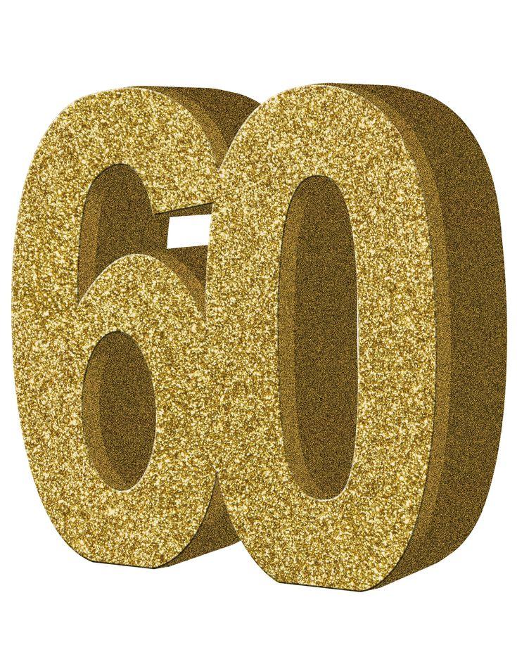 Decoración de mesa 60 años: Este centro de mesa el número 60 de color dorado con purpurina.Mide 20x20 cm y 3 cm de grosor aproximadamente.Dale brillo a la decoración de cumpleaños 60 años con este...
