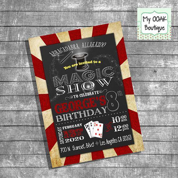 Magic Show invitation birthday party invitation by myooakboutique