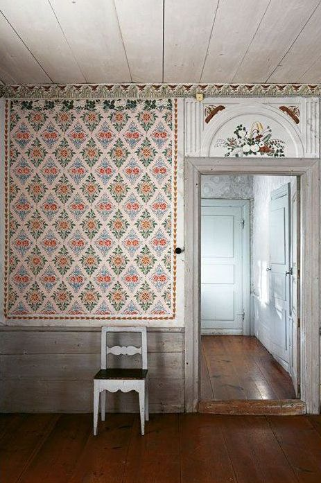 Hälsingland, classical Swedish interior. floral Wallpaper, panelled room.