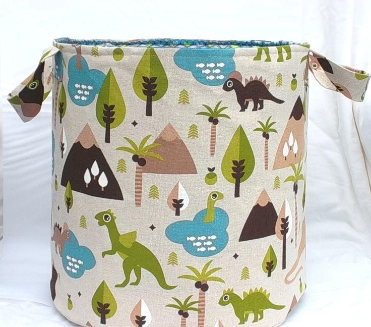 """BAC à jouets pour enfant, grand SAC à linge, Panier de rangement en coton """"Dinosaures au vert"""" : Chambre d'enfant, de bébé par paquita-14400"""