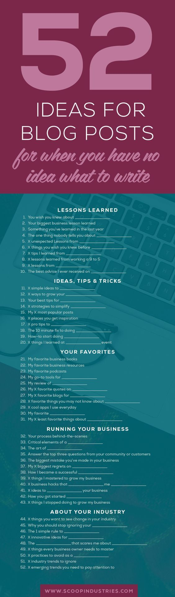 52 Ideas for Blog Posts for When You Have No Idea What to Write - @redwebdesign