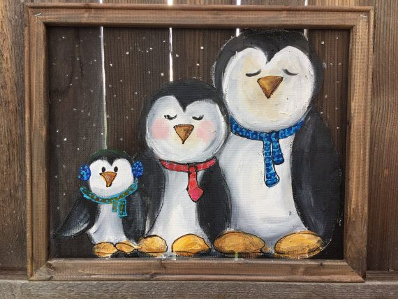 original hand painting ,Wood Frame, Recycled penguins 16X20 Inches this Screen and the wood frame hand painted and ready for you. it can be to