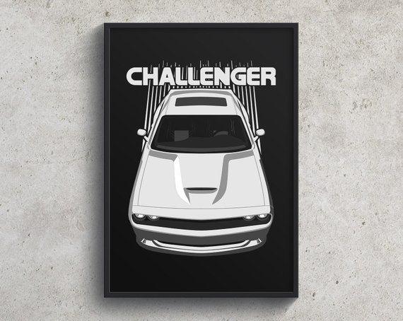 Dodge Challenger Srt 2015 To 2018 Poster White Challenger Etsy Hellcat Challenger Dodge Challenger Hellcat Dodge Challenger