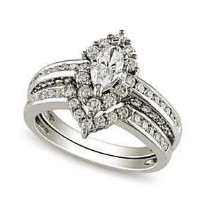 2.28Ct D/ VVS1 Marquise Bridal Set Engagement Ring 10K White Gold Bridal Jewelry by JewelryHub on Opensky