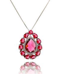 colar rubi da moda com zirconias cristais semi joias de luxo