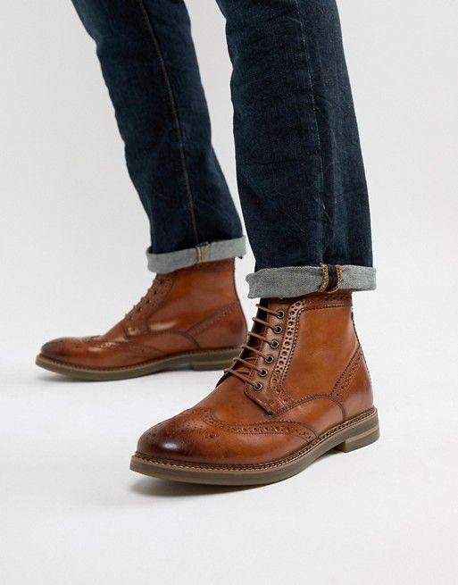 Base London Wide Fit Hurst brogue boots