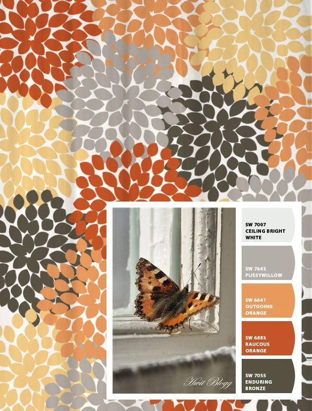 Shower Curtain Gray Orange Monarch Inspired Floral Colors Room
