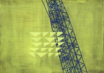 Simon McIntyre, The Local (Tank Farm I), 2011, acrylic & charcoal on fabriano paper, 700 x 1000mm