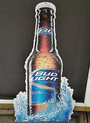 Bud Light Beer Tin Metal Sign Bar Man Man Cave Garage Tall Budweiser LG Bottle