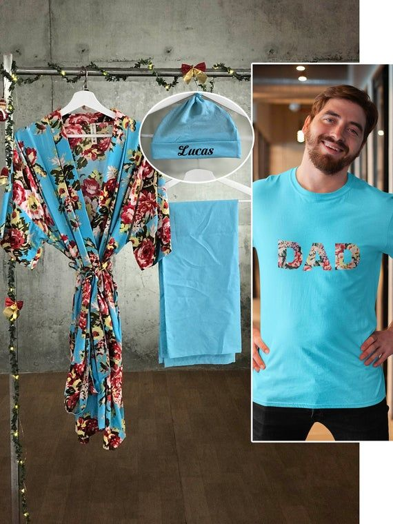 Hospital robe and matching baby swaddle Delivery robe and swaddle set boy Dad shirt Maternity robe and swaddle set boy Mommy and me.