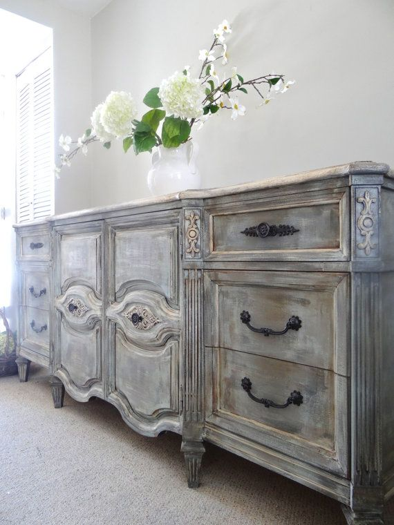 SOLD - Vintage Hand Painted French Provincial Cottage Chic Shabby Distressed Grey Dresser / Console Cabinet / Buffet