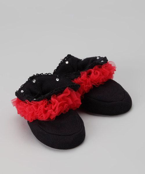 Take a look at the Black & Red Ruffle Booties - Infant on #zulily today!