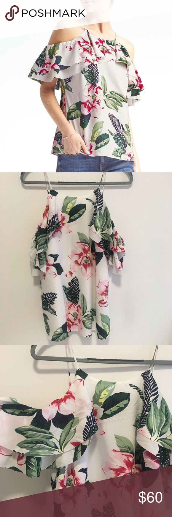 // Banana Republic Floral Cold Shoulder Top brand new with tags! super cute floral and tropical looking cold shoulder top from banana republic. perfect for the summer! 100% polyester Banana Republic Tops Blouses