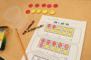 Spill & Add: Two versions of this one (5 and 10). The kids shook up a cup of 2-color counters, colored the recording sheet, and wrote the number sentences. Free Spill & Add Sheets