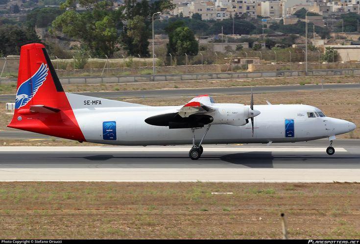 Amapola Flyg Fokker F50 Freighter SE-MFA aircraft, skating at Malta Luqa International Airport. 26/09/2014.