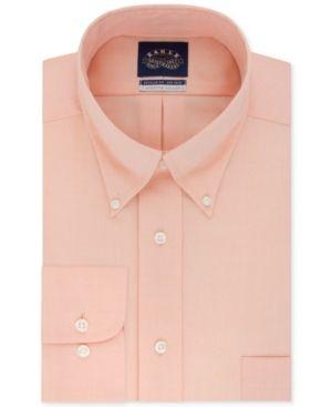 Eagle Men's Big & Tall Classic-Fit Stretch Collar Non-Iron Solid Dress Shirt - Orange 17.5 34/35