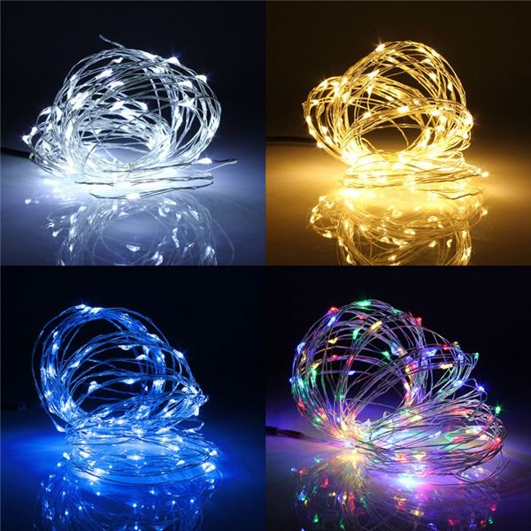 10M 100 LED Battery Operated Silver Wire String Fairy Light Xmas + Remote Controller