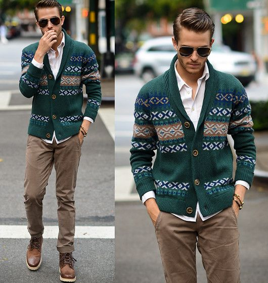 Sweater, Trousers, Boots, Aviators, White Shirt - Viridescent - Adam Gallagher