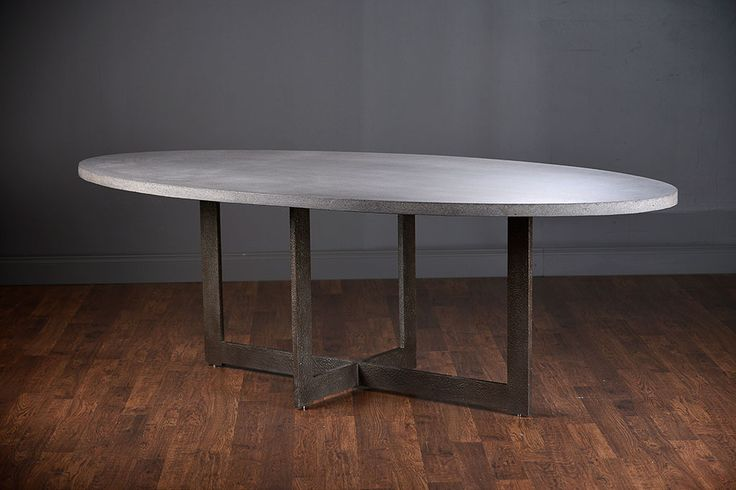 Xander Oval Lava Stone Dining Table in Grey Stoke Top or Weathered Teak Topwith Dirty Steel Base Suitable for Outdoor Use,Chair Clearance: 26.5