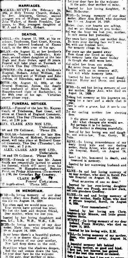 Mercury (Hobart, Tas. : 1860 - 1954), Thursday 14 August 1924, page 1