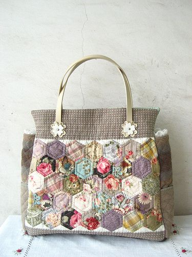 handmade quilted Grandmother's garden patchwork bag by STORY QUILT, via Flickr