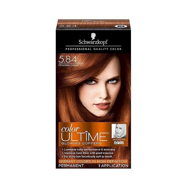 Schwarzkopf Color Ultime Glowing Coppers Hair Color . Chocolate Copper ($9.49) ❤ liked on Polyvore featuring beauty products, haircare and hair color