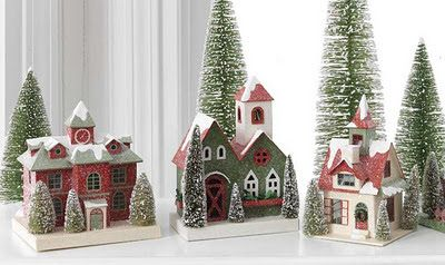 Paper Mache  snow houses Ornament | offers several paper board putz houses for Christmas decorating