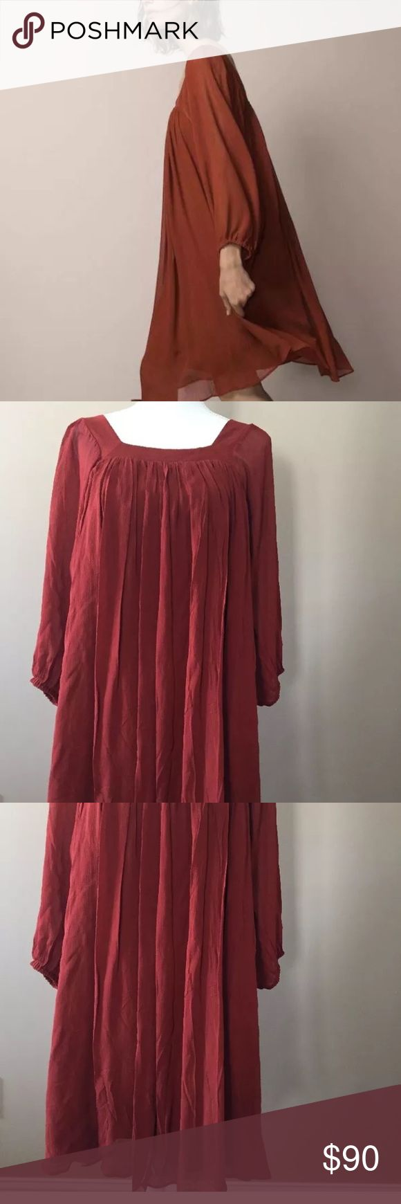 """Massimo Dutti terracotta boho gauze dress size m Great flowy loose-fitting dress in beautiful terracotta color. Wear year round with boots or sandals. Size medium. Lined, sleeves are not lined. Has a brand tag but price tag is missing. Has a small pin hole on the neckline probably from a tag (see picture)   About 21"""" underarms, shoulder to hem-37"""" Massimo Dutti Dresses Long Sleeve"""