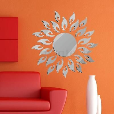 3D Mirror Style Sun Decal Wall Sticker DIY Removable Art Mural Home Room Decor