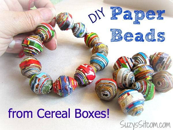 CEREAL BOX BEADS Supplies: Cereal boxes scissors tacky glue modge podge 14 gauge wire elastic string Directions: First, cut the cereal boxes long-ways into strips that are 3/4″ wide on one end and taper down to 1/8″ wide at the other end. Take a piece of your wire and begin wrapping the wide end around …