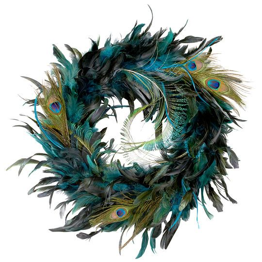 """Make a statement with bold, colorful feathers. This beautiful 18"""" peacock wreath features turquoise feathers and is accented with peacock """"eyes"""" that will enhance your home dertcor for years."""