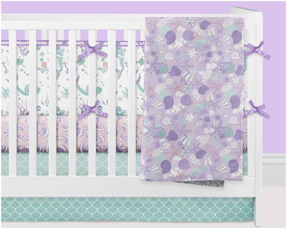 Mermaid Crib Bedding Girl Ocean Nursery Bedding by modifiedtot