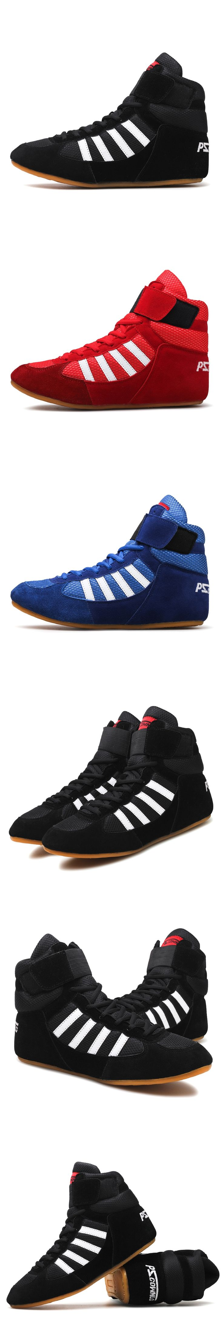 2016  wrestling shoes for men training shoes geniune leather sneakers professional boxing shoes tenis feminino de boxe shoes