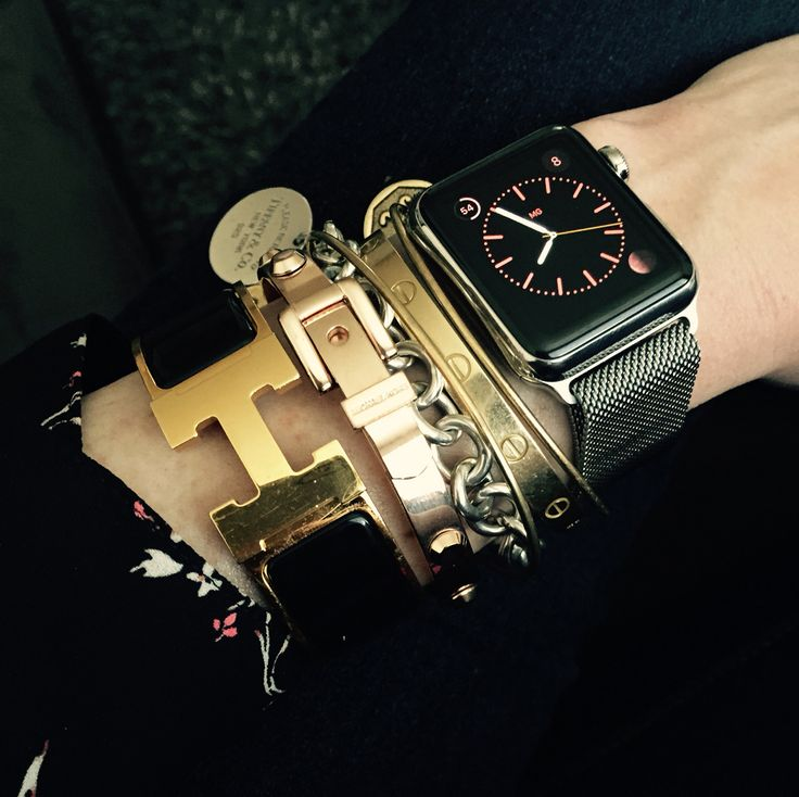 How to style an Apple watch with Hermes, Cartier, Tiffany, rose gold Michael Kors and Alex + Ani - arm candy!