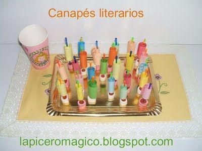 Para hacer canapés literario en un taller de lectura creativa. Seleccionar textos para leer, adivinanzas, poemas...